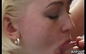 Lustful lesbian angels are opening upon coupled with fisting assholes
