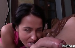 Uncompromised semi-nude petite cutie receives screwed in opened butthole