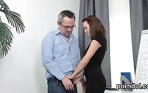 Kissable schoolgirl receives teased and fucked by aged mentor