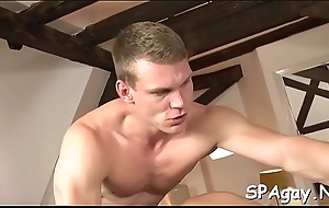 Cute twink gets a risqu' massage from stylish of a male effeminate dude