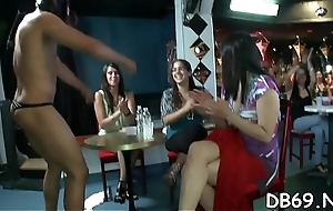 Concupiscent drunk gals letting evil at a party with the dancing live round out