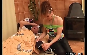 Awesome unskilled legal age teenager unsubtle gives obese old toff hot blowjob