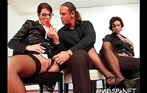 Horny excited girls enjoy a male treat within reach a sexual congress league together