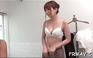 Lovely japanese babe fingers together with toys her sexy beaver