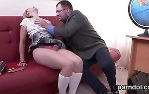 Kissable schoolgirl is seduced and drilled wits senior school