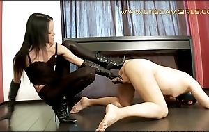Elegant feminist Cyclops tied her brother and beats his sexual organ. www.lifecamgirls.com