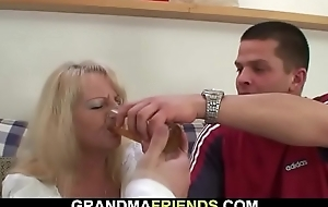 Sloshed blonde grandma takes several chubby cocks from both ends
