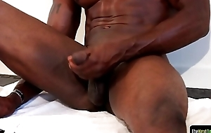 Buff ebony hunk can't live without stroking his wang