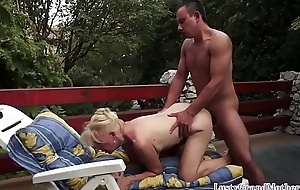Pussylicked grandma fucked outdoors