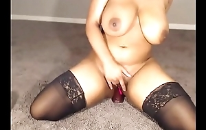 busty down in the mouth haired ebony fro beamy incompetent boobs masturbating