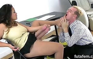 Nymphos drill-hole boyfriends anal with big strap-on dildos with an increment of splash saddle with