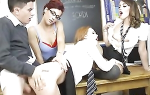 Jordi fucks his tutor and three sexy classmates readily obtainable the same time