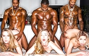 A handful of astounding blonde ladies servicing muscled black guys