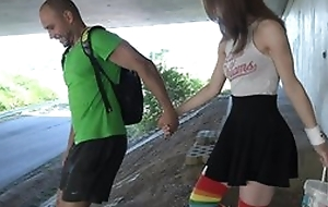 Cute schoolgirl in high-knee socks enjoys fucking in public