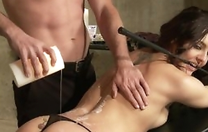Submissive brunette wold strings blows master's dick