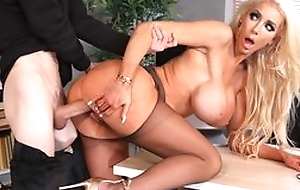 Tall fuckdoll alongside huge silicone pair receives her cunthole fucked