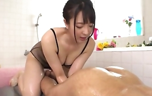 Hot Japanese girl relating to chubby natural tits licks BF's asshole