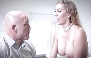Bald-headed businessman fucks his gorgeous scrivener