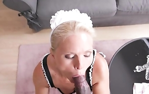 Lusty maid with sincere jugs gets group-fucked all round the living room