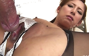 Japanese office babe acquires fucked hard through the hole in their way panties