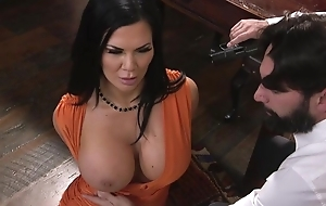 Raven-haired pornstar with huge melons gets drilled in hammer away ass
