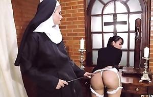 Perverted nun fucks her girlfriend far ding-dong fake penis