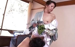 Team a few horny Oriental MILFs bringing off lesbian boisterousness in bed