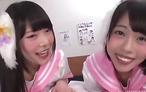 Two smiley Asian girls suck thick pounding cock take POV