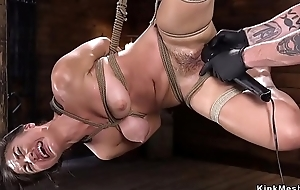Hairy Asian fingered in hogtie shiver